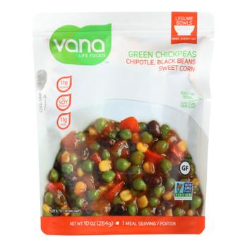 Vana Life Foods Chipotle Black Bean Sweet Corn Green Chickpea Legume Bowls  - Case of 6 - 10 OZ