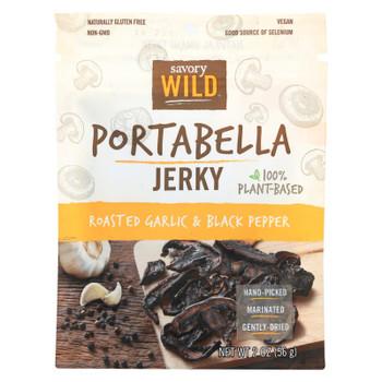 Savory Wild Roasted Garlic & Black Pepper Portabella Jerky - Case of 12 - 2 OZ