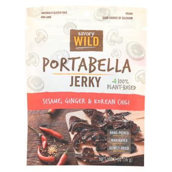 Savory Wild Portabella Jerky - Case of 12 - 2 OZ