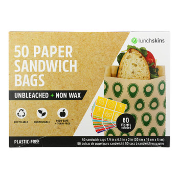 Lunchskins - Sandwich Bag Paper Avo - Case of 12 - 50 CT