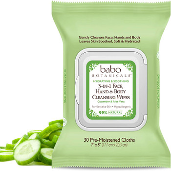 Babo Botanicals Swim & Sport 3-in-1 Face, Hand & Body Wipes, 30 count