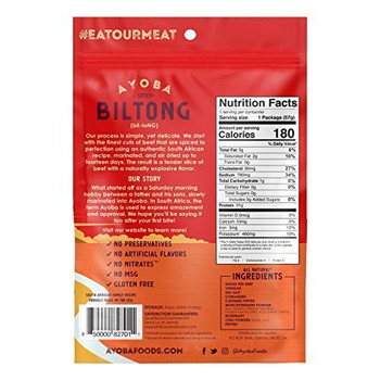 Ayoba-yo - Biltong South African Jerky - Spicy - Case of 8 - 2 oz.