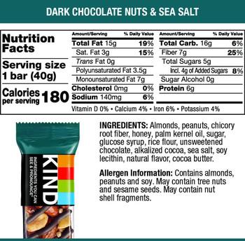 Kind - Bar Dark Chocolate Nuts & Sea Salt - Case of 10 - 6/1.4 OZ