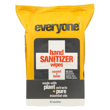 Everyone Hand Sanitizer Wipes - Natural - Coconut and Lemon - 30 Count