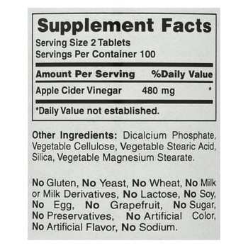 American Health - Apple Cider Vinegar - 300 mg - 200 Tablets