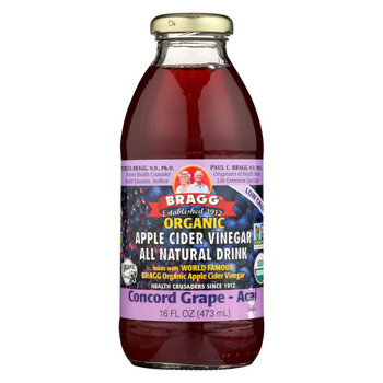 Bragg Apple Cider Vinegar Drink - Organic - Concord Grape-Acai - 16 oz - case of 12