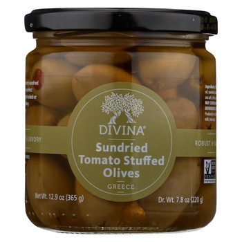 Divina Olives Stuffed with Sundried Tomatoes - Case of 6 - 7.8 oz.