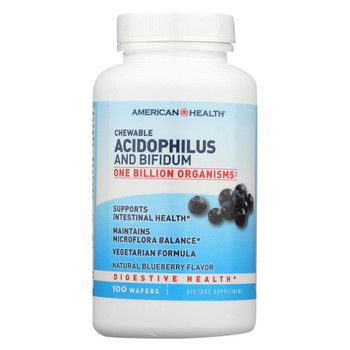 American Health - Acidophilus and Bifidus Chewable Blueberry - 100 Wafers
