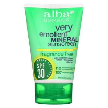 Alba Botanica Sunscreen - Alba Sun Min SPF 30 F.Free 4oz. - Case of 1 - 4 fl oz.