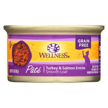 Wellness Pet Products Cat Food - Turkey and Salmon Recipe - Case of 24 - 3 oz.