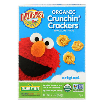 Earth's Best Organic Original Sesame Street Crunchin' Crackers - Case of 6 - 5.3 oz.
