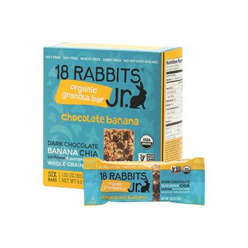 18 Rabbits Jr. Granola Bar - Chocolate Banana - Case of 6 - 1.05 oz.