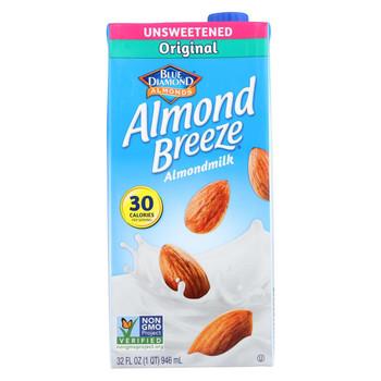 Almond Breeze Almond Milk - Unsweetened Original - Case of 12 - 32 fl oz