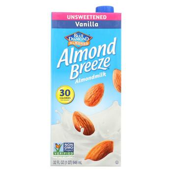 Almond Breeze Almond Milk - Unsweetened Vanilla - Case of 12 - 32 fl oz