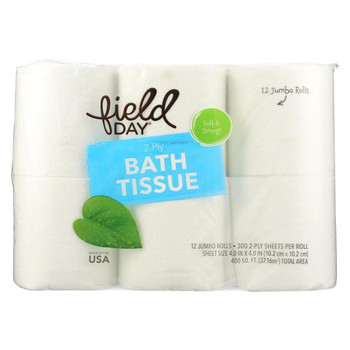 Field Day Bath Tissue - 100 Percent Recycled - 2-Ply - 300 sheets each - 12 double rolls - case of 4