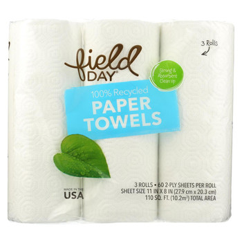 Field Day Paper Towel - 100 Percent Recycled - 60 sheets each - 3 rolls - case of 10