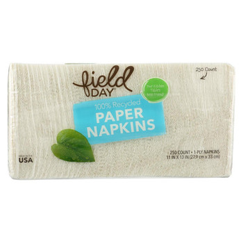 Field Day Paper Napkins - 100 Percent Recycled - 1-Ply - White - 1/250 count - case of 12