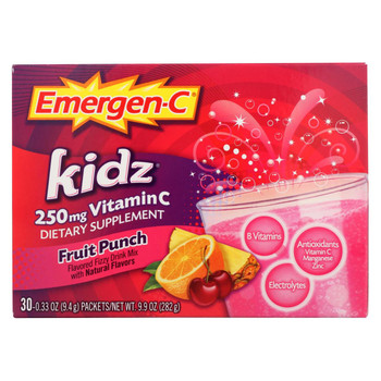 Alacer - Emergen-C Kidz Vitamin C Fizzy Drink Mix Fruit Punch - 250 mg - 30 Packets