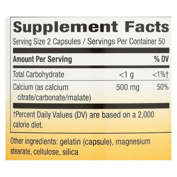 Nature's Way Calcium Citrate - 500 mg - 100 Capsules