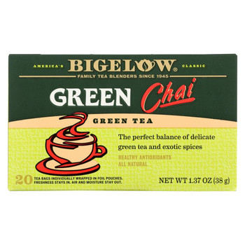 Bigelow Tea Tea - Green - Chai - Case of 6 - 20 BAG