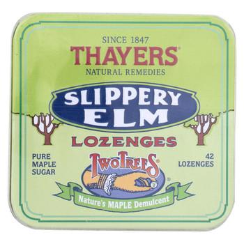 Thayers Slippery Elm Lozenges Maple - 42 Lozenges - Case of 10