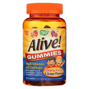 Nature's Way - Alive! Gummies Multi-Vitamin for Children - Cherry Grape and Orange - 90 Gummies