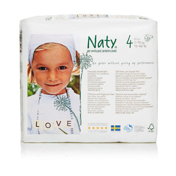 Naty - Baby Diaper Size 4 22-37lb - Case of 4 - 27 CT