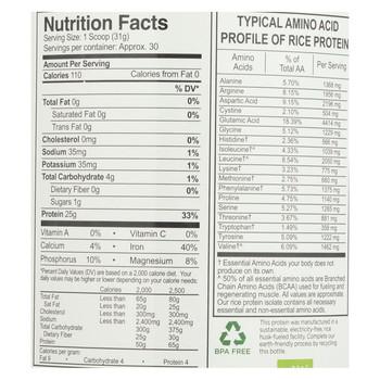 Growing Naturals Rice Protein Powder - Vanilla Blast - 32.8 oz