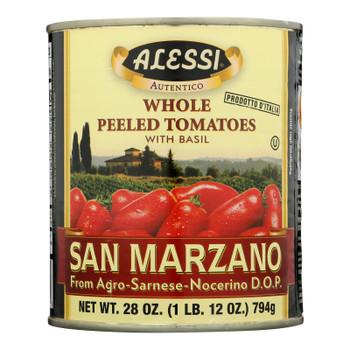 Alessi - Whole Peeled Tomatoes - Basil - Case of 12 - 28 oz.