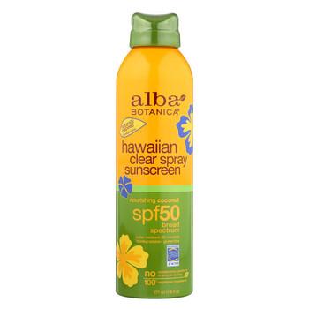 Alba Botanica Sunscreen - Hawaiian - Clear Spray SPF 50 - Nourishing Coconut - 6 oz