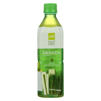 Alo Pulp Free Awaken Aloe Vera Juice Drink - Wheatgrass - Case of 12 - 16.9 fl oz.