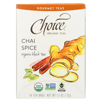 Choice Organic Gourmet Black Tea - Chai Spice - Case of 6 - 16 Count