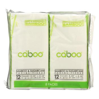 Caboo Facial Tissue - Bamboo and Sugarcane - Case of 30 - 8 Pk