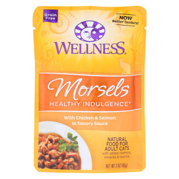 Wellness Pet Products Cat Food - Morsels with Chicken and Salmon In Savory Sauce - Case of 24 - 3 oz.