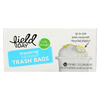 Field Day Drawstring Tall Kitchen Trash Bags - Trash Bags - Case of 12 - 20 Count