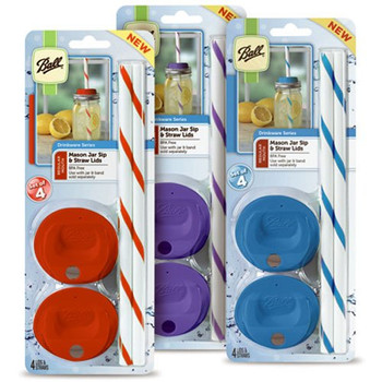 Ball Canning Sip and Straw - Wide Mouth - Case of 6 - 4 count