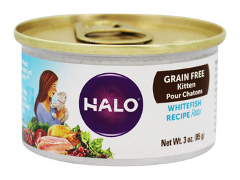 Halo Purely For Pets Pate - Cat - Whitefish - Grain Free - Case of 18 - 3 oz