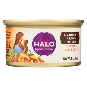 Halo Purely For Pets Pate - Cat - Chicken and Beef - Grain Free - Case of 12 - 3 oz