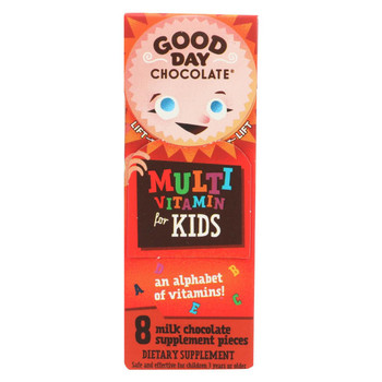 Good Day Chocolate - Multivitamin Supplement for Kids - Case of 12 - 8 count