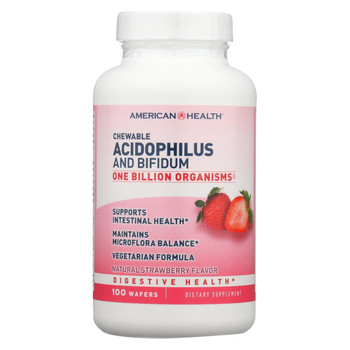 American Health Acidophilus and Bifidum - Strawberry - 100 Chewable Wafers