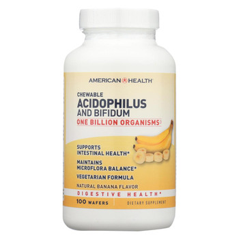 American Health - Acidophilus with Bifidus Chewable Banana - 100 Wafers