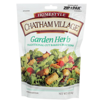 Chatham Village Traditional Cut Croutons - Garden Herb - Case of 12 - 5 oz.