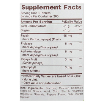 American Health - Papaya Enzyme With Chlorophyll Chewable - 600 Chewable Tablets