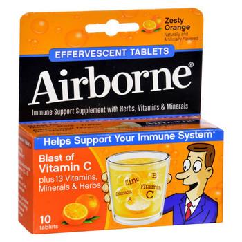 Airborne Effervescent Tablets with Vitamin C - Zesty Orange - 10 Tablets