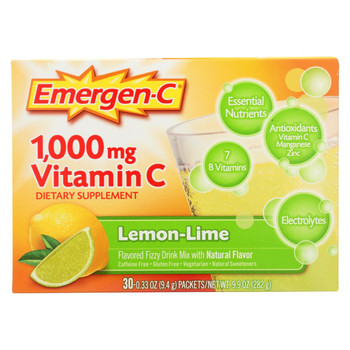 Alacer - Emergen-C Vitamin C Fizzy Drink Mix Lemon Lime - 1000 mg - 30 Packets