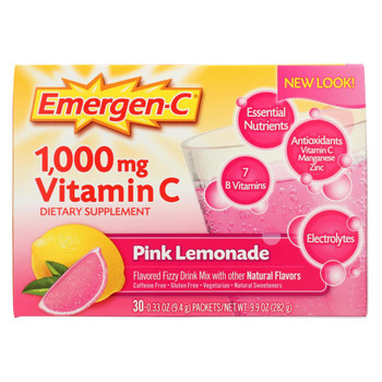 Alacer - Emergen-C Vitamin C Fizzy Drink Mix Pink Lemonade - 1000 mg - 30 Packets