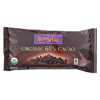 Sunspire Foods Organic 65 Percent Cacao Chips - Bittersweet Chocolate - Case of 12 - 9 oz.