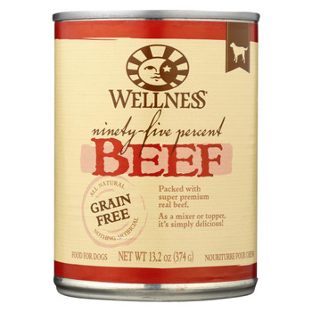 Wellness Pet Products Canned Dog Food -95% Beef - Case of 12 - 13.2 oz