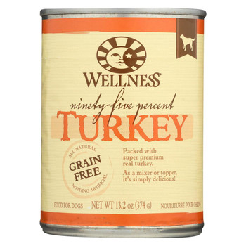 Wellness Pet Products Canned Dog Food -95% Turkey - Case of 12 - 13.2 oz
