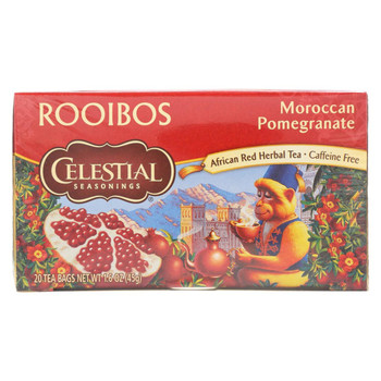 Celestial Seasonings Red Tea Caffeine Free Moroccan Pomegranate - 20 Tea Bags - Case of 6